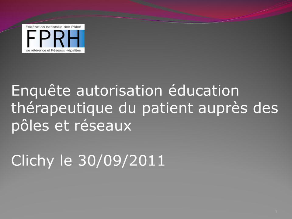 Méthodologie Enquête par un premier questionnaire envoyé en juin 2011 et un second envoyé en août 2011 Objectif : identifier les réseaux ayant fait appel à lARS pour le dossier de demande « Education Thérapeutique du Patient » 2
