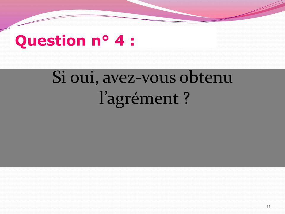 Question n° 4 : Si oui, avez-vous obtenu lagrément ? 11