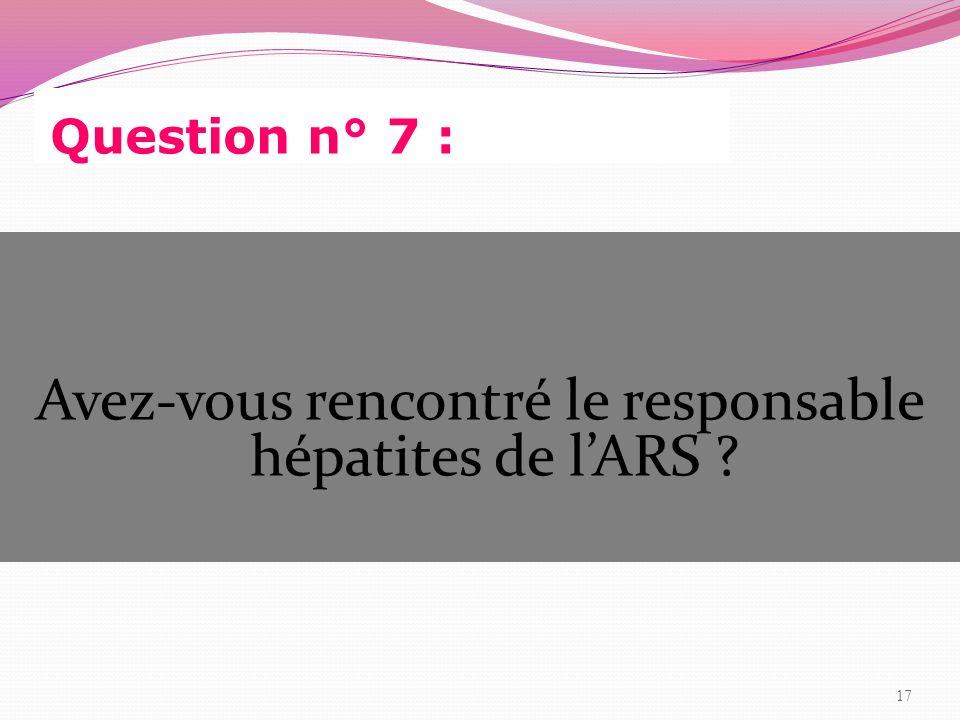 Question n° 7 : Avez-vous rencontré le responsable hépatites de lARS ? 17