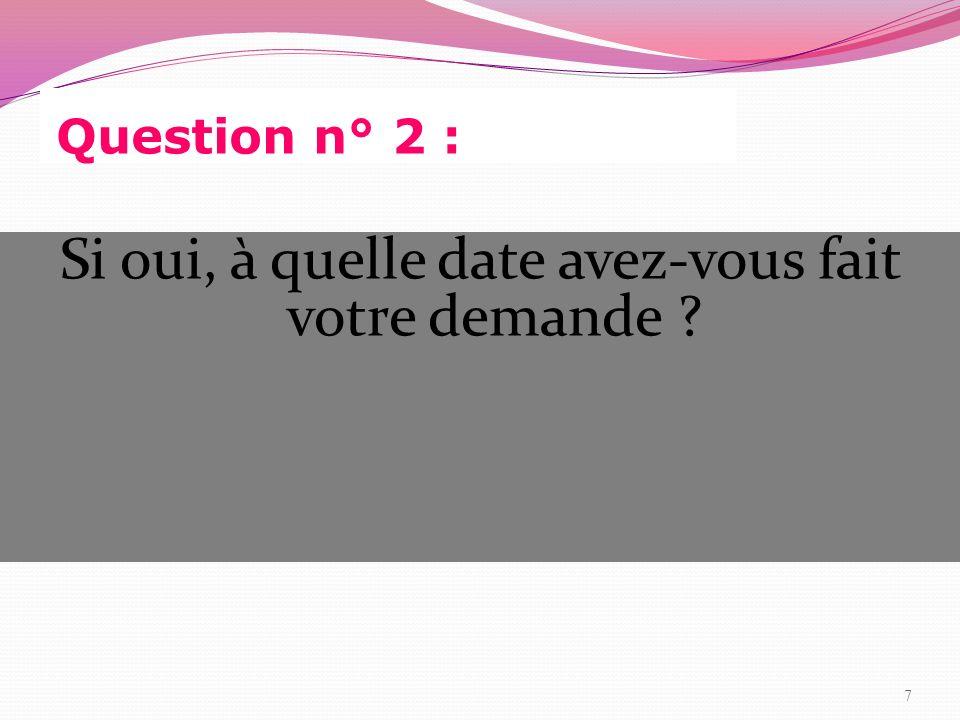 Réponse à la question n° 2 : Octobre 2010 : 7 Novembre 2010 :1 Décembre 2010 :2 Janvier 2011 :1 Pas de réponse :7 8