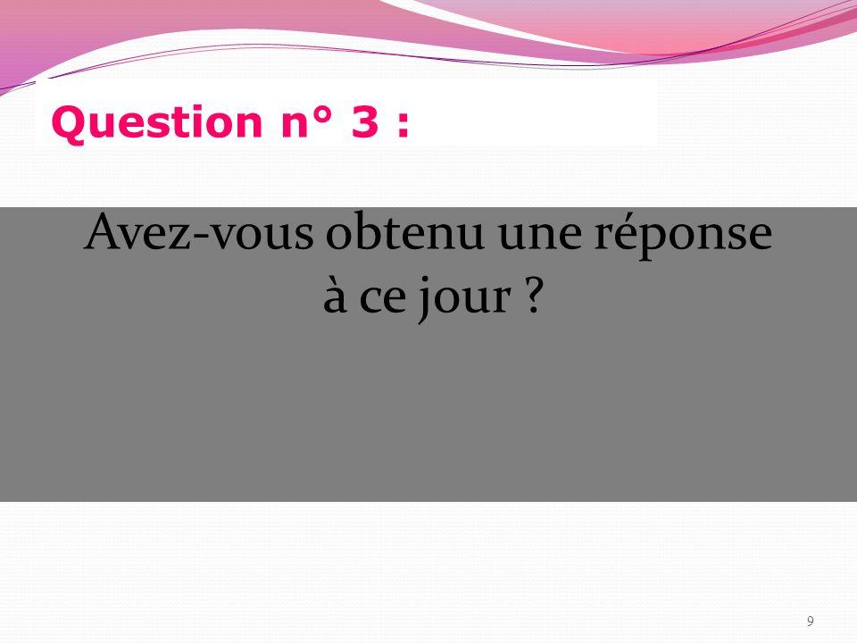 Réponse à la question n° 8 Oui :3 Non :4 Pas de réponse :10 20