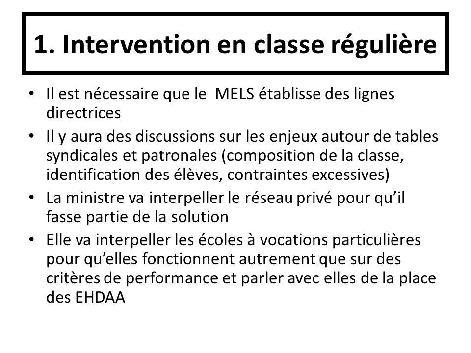 1. Intervention en classe régulière Il est nécessaire que le MELS établisse des lignes directrices Il y aura des discussions sur les enjeux autour de