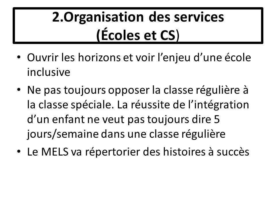 2.Organisation des services (Écoles et CS) Ouvrir les horizons et voir lenjeu dune école inclusive Ne pas toujours opposer la classe régulière à la classe spéciale.