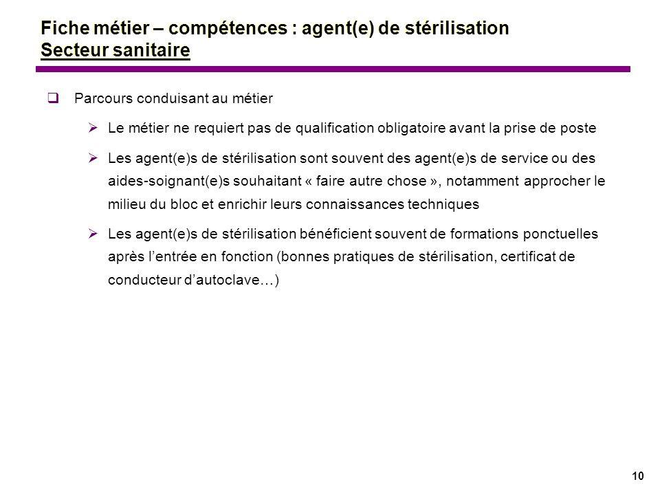 10 Parcours conduisant au métier Le métier ne requiert pas de qualification obligatoire avant la prise de poste Les agent(e)s de stérilisation sont so