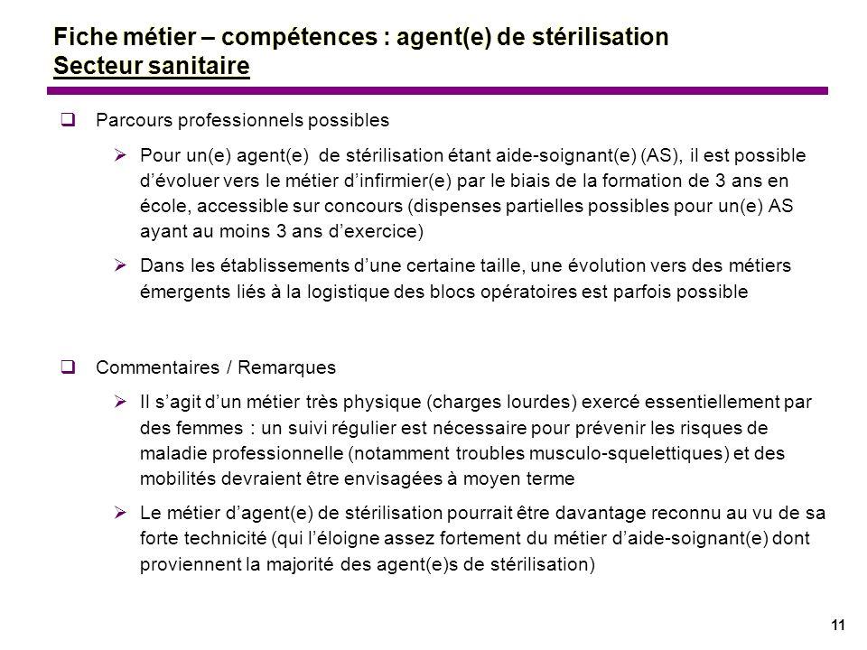 11 Parcours professionnels possibles Pour un(e) agent(e) de stérilisation étant aide-soignant(e) (AS), il est possible dévoluer vers le métier dinfirm