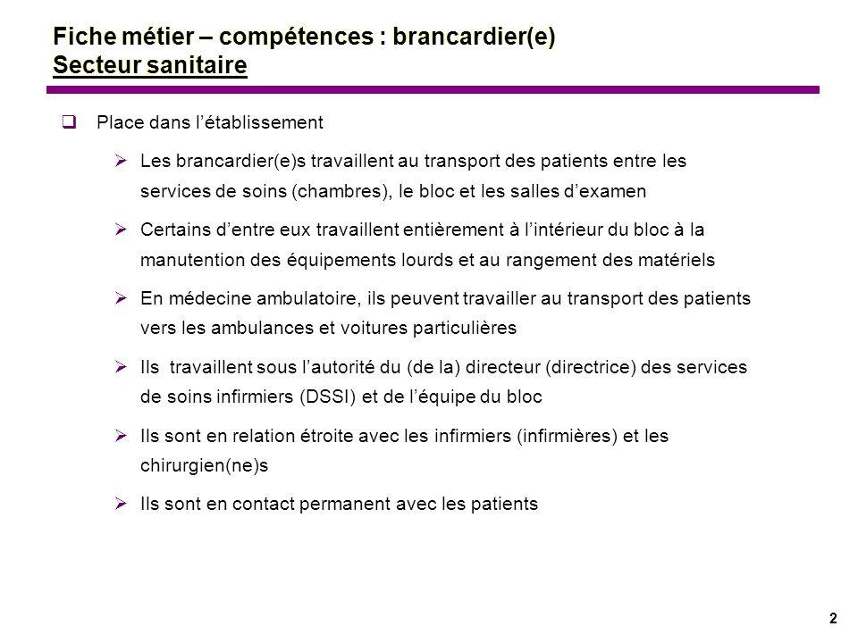 2 Fiche métier – compétences : brancardier(e) Secteur sanitaire Place dans létablissement Les brancardier(e)s travaillent au transport des patients en