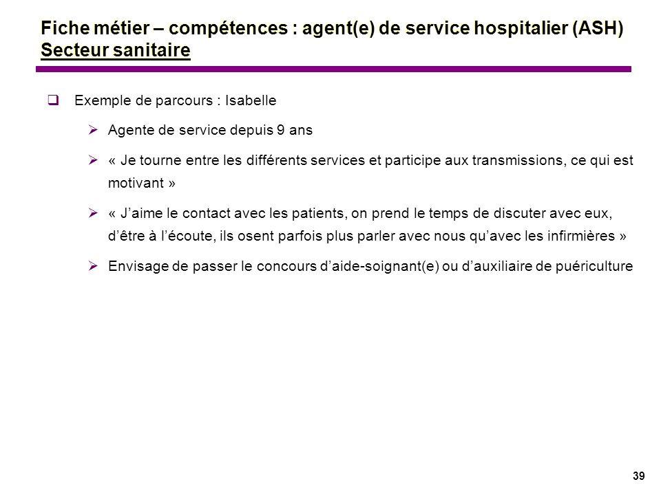 39 Exemple de parcours : Isabelle Agente de service depuis 9 ans « Je tourne entre les différents services et participe aux transmissions, ce qui est