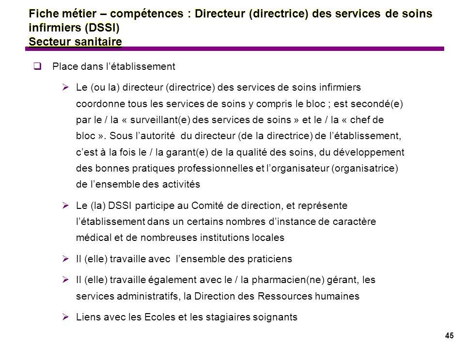 45 Fiche métier – compétences : Directeur (directrice) des services de soins infirmiers (DSSI) Secteur sanitaire Place dans létablissement Le (ou la)
