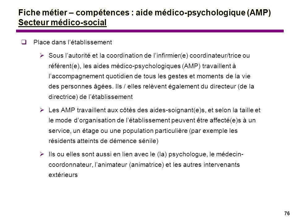 76 Fiche métier – compétences : aide médico-psychologique (AMP) Secteur médico-social Place dans létablissement Sous lautorité et la coordination de l