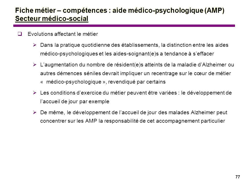 77 Evolutions affectant le métier Dans la pratique quotidienne des établissements, la distinction entre les aides médico-psychologiques et les aides-s