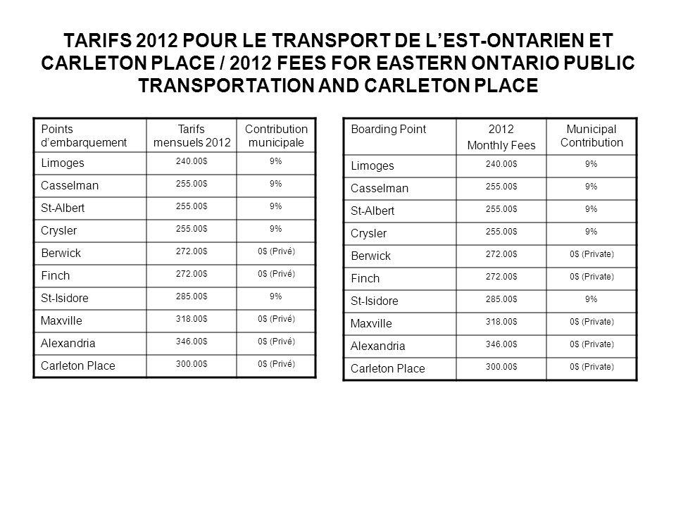 TARIFS 2012 POUR LE TRANSPORT DE LEST-ONTARIEN ET CARLETON PLACE / 2012 FEES FOR EASTERN ONTARIO PUBLIC TRANSPORTATION AND CARLETON PLACE Boarding Poi