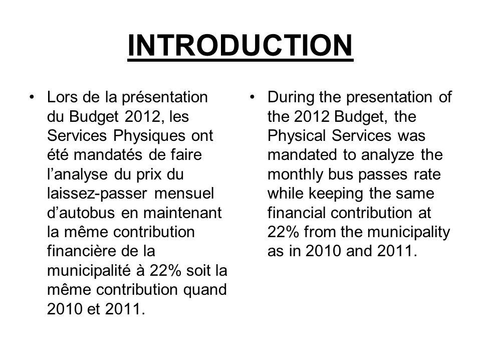 INTRODUCTION Lors de la présentation du Budget 2012, les Services Physiques ont été mandatés de faire lanalyse du prix du laissez-passer mensuel dauto