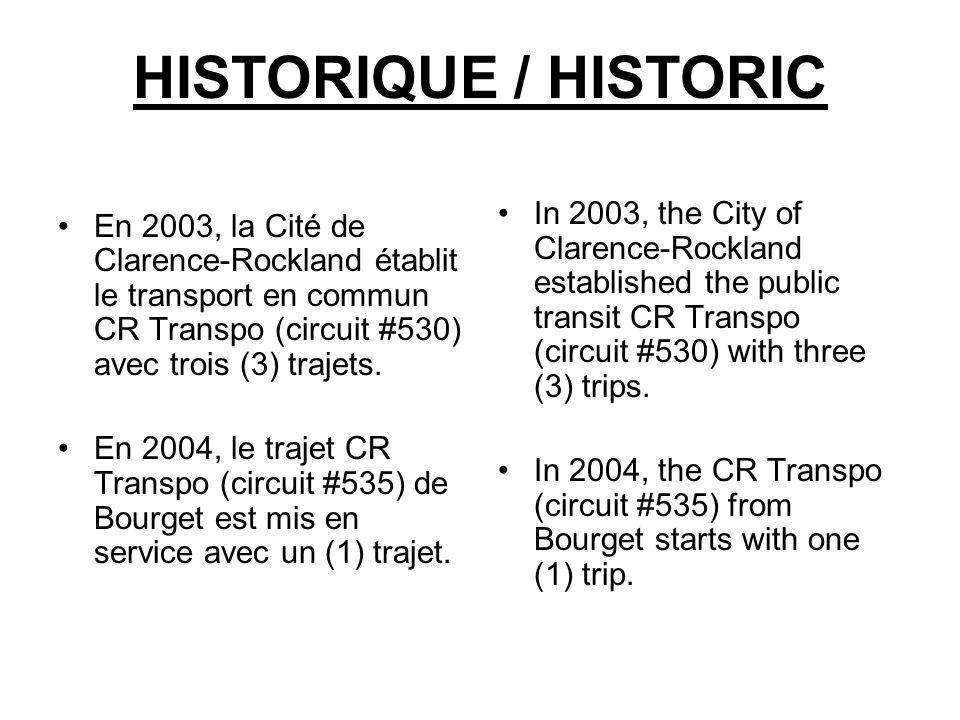 HISTORIQUE / HISTORIC En 2003, la Cité de Clarence-Rockland établit le transport en commun CR Transpo (circuit #530) avec trois (3) trajets. En 2004,