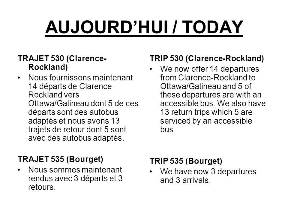 AUJOURDHUI / TODAY TRAJET 530 (Clarence- Rockland) Nous fournissons maintenant 14 départs de Clarence- Rockland vers Ottawa/Gatineau dont 5 de ces dép