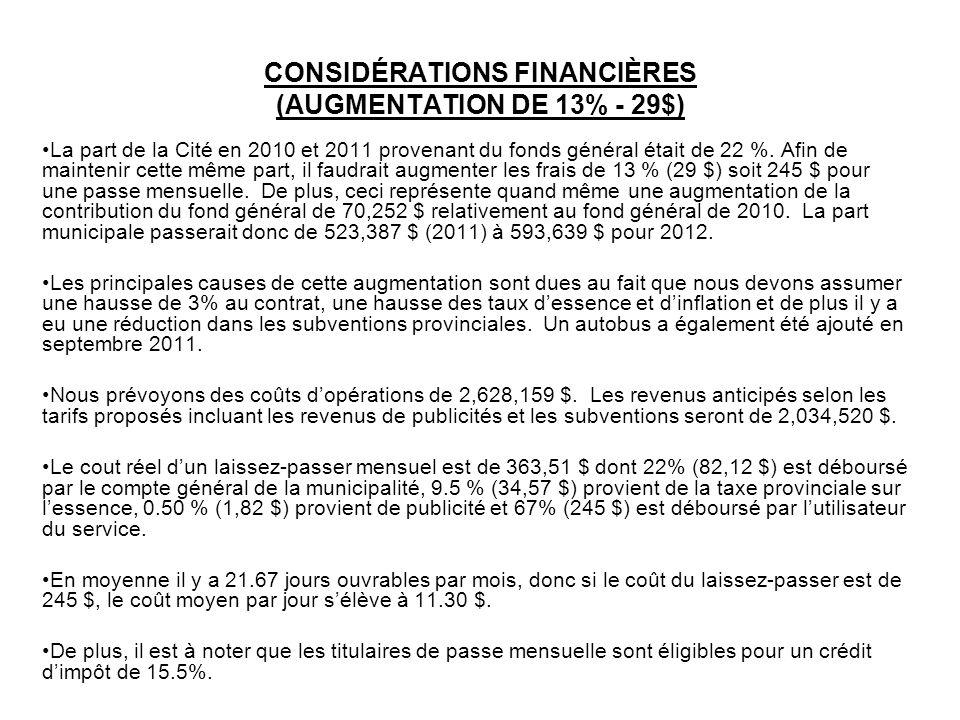 CONSIDÉRATIONS FINANCIÈRES (AUGMENTATION DE 13% - 29$) La part de la Cité en 2010 et 2011 provenant du fonds général était de 22 %. Afin de maintenir
