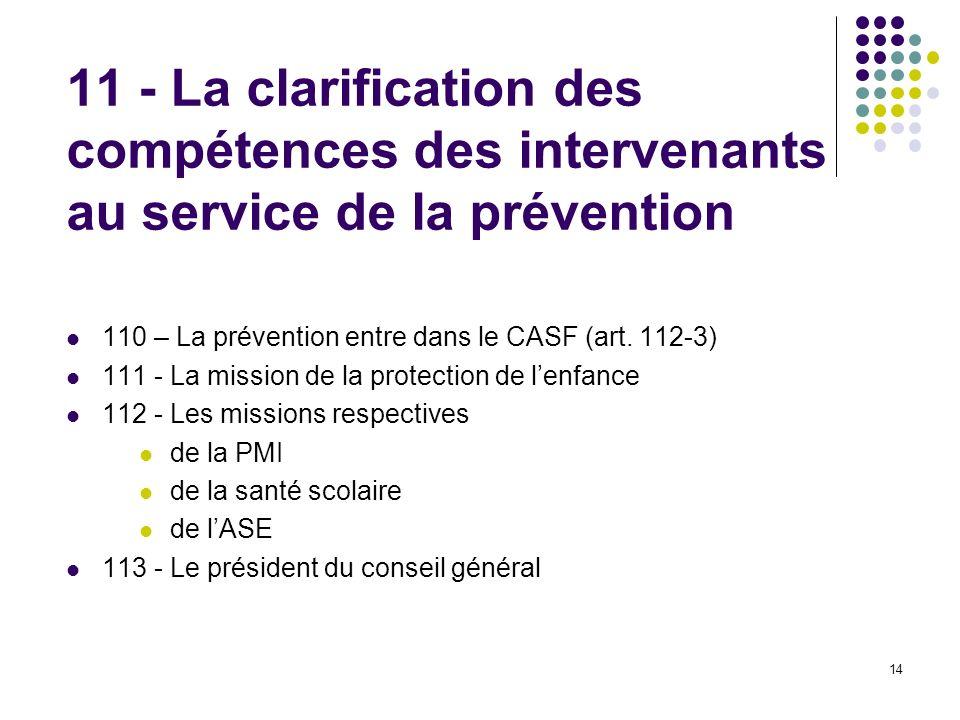 14 11 - La clarification des compétences des intervenants au service de la prévention 110 – La prévention entre dans le CASF (art. 112-3) 111 - La mis