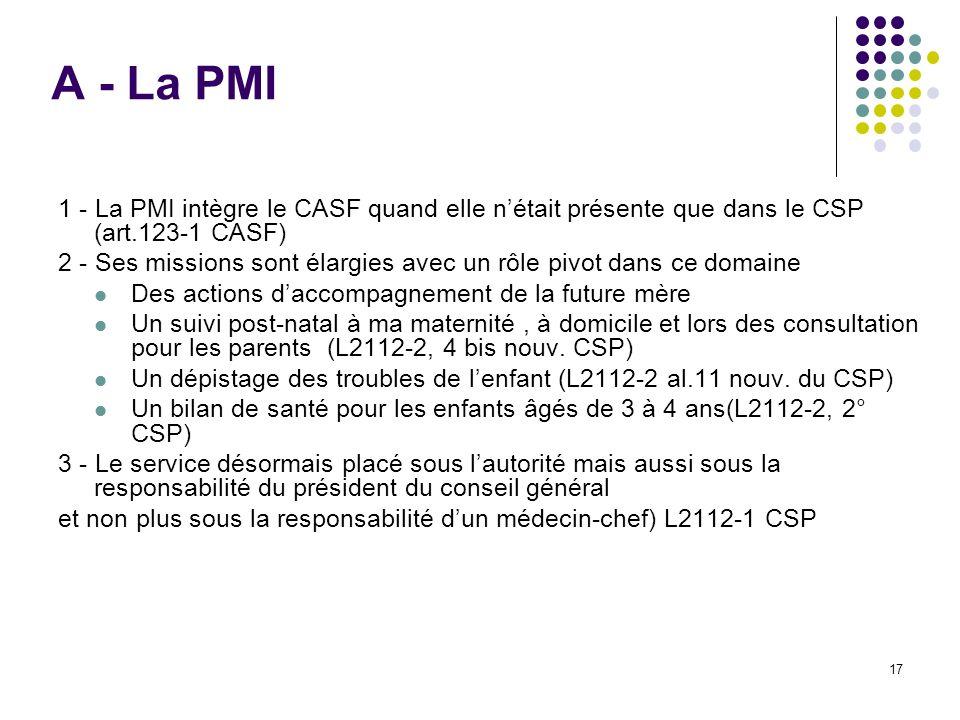 17 A - La PMI 1 - La PMI intègre le CASF quand elle nétait présente que dans le CSP (art.123-1 CASF) 2 - Ses missions sont élargies avec un rôle pivot