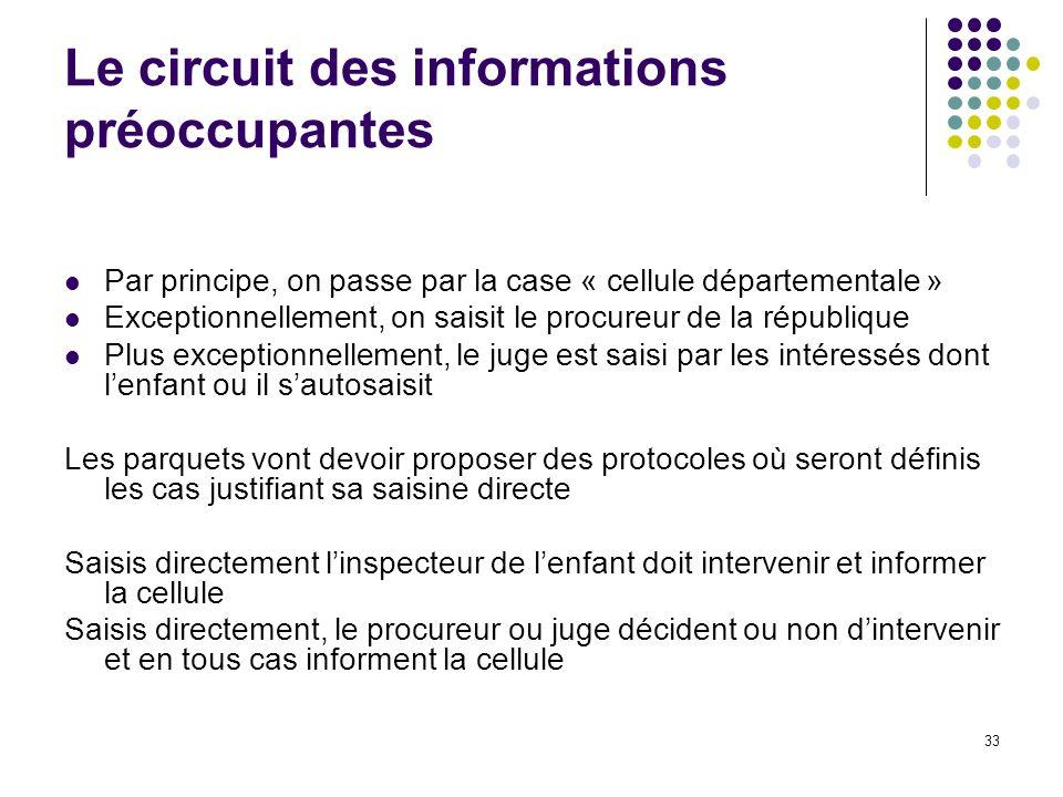 33 Le circuit des informations préoccupantes Par principe, on passe par la case « cellule départementale » Exceptionnellement, on saisit le procureur