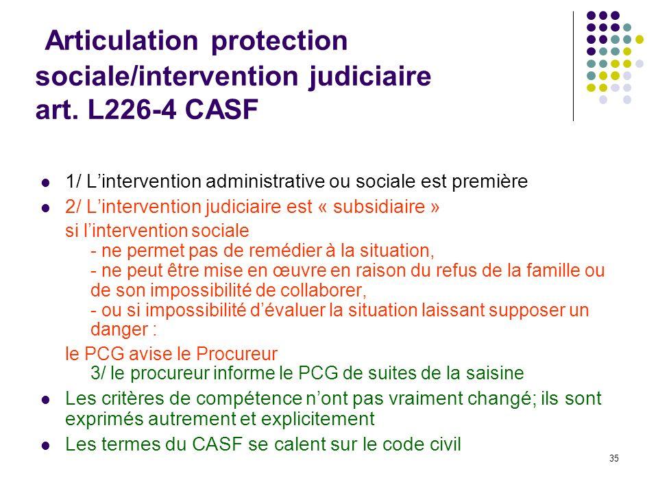 35 Articulation protection sociale/intervention judiciaire art. L226-4 CASF 1/ Lintervention administrative ou sociale est première 2/ Lintervention j