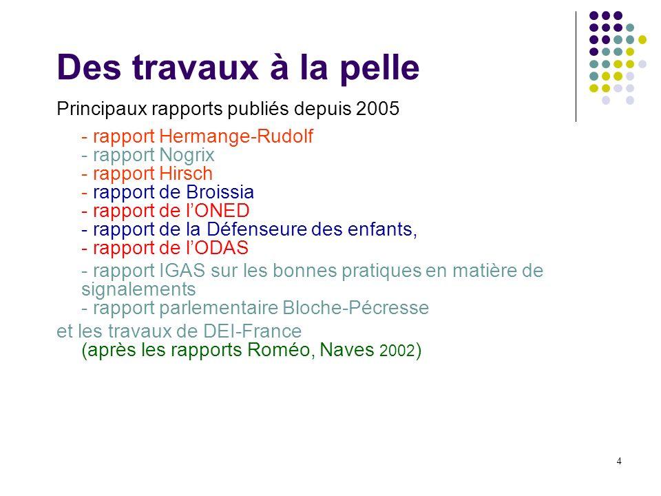 4 Des travaux à la pelle Principaux rapports publiés depuis 2005 - rapport Hermange-Rudolf - rapport Nogrix - rapport Hirsch - rapport de Broissia - r