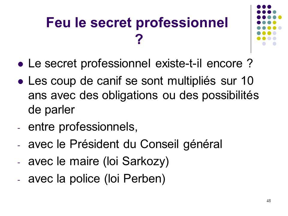 48 Feu le secret professionnel ? Le secret professionnel existe-t-il encore ? Les coup de canif se sont multipliés sur 10 ans avec des obligations ou