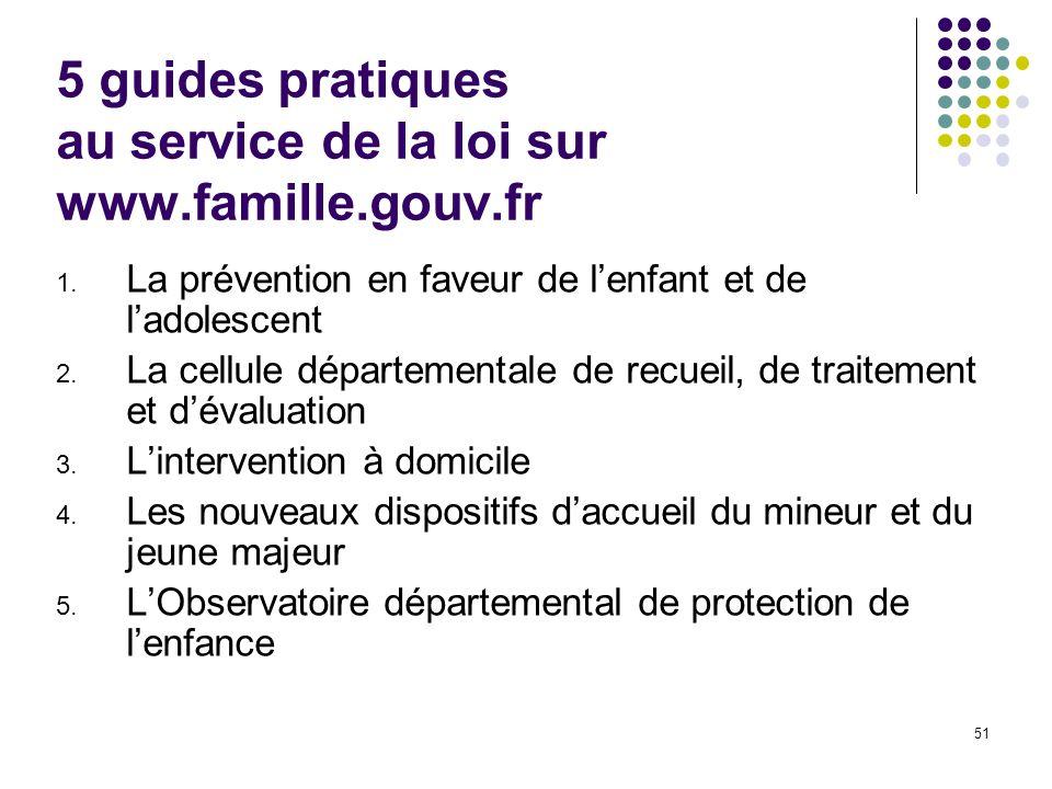 51 5 guides pratiques au service de la loi sur www.famille.gouv.fr 1. La prévention en faveur de lenfant et de ladolescent 2. La cellule départemental