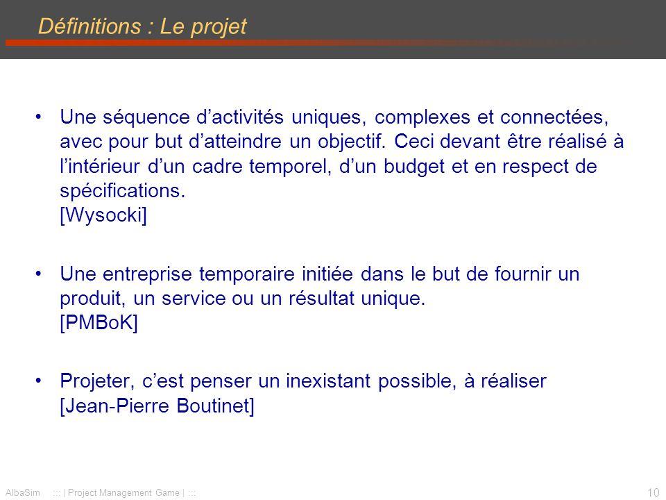 11 AlbaSim ::: | Project Management Game | ::: Le triangle O-C-D (Objectif -Coûts-Délais) Un système dynamique –à maintenir en équilibre –à arbitrer PROJET Objectifs CoûtsDélais