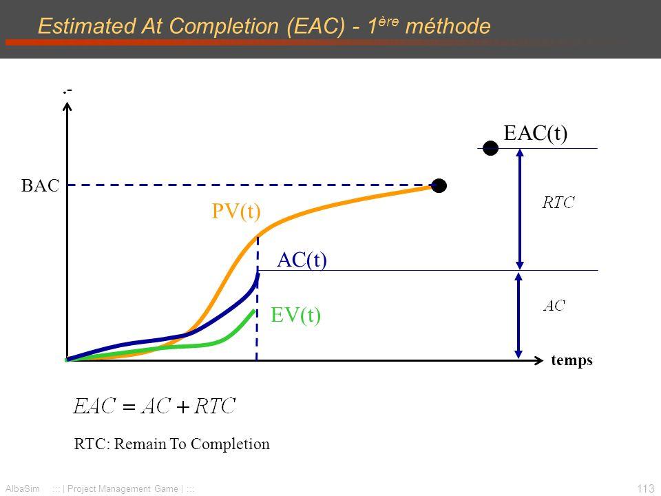 114 AlbaSim ::: | Project Management Game | ::: Estimated At Completion (EAC) - 2 ème méthode.- temps AC(t) EV(t) PV(t) BAC EAC(t)