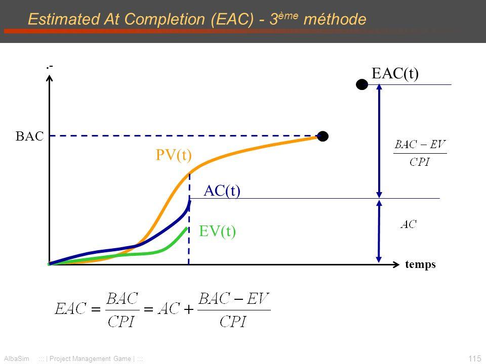 116 AlbaSim ::: | Project Management Game | ::: Estimated At Completion (EAC) - 4 ème méthode.- temps AC(t) EV(t) PV(t) BAC EAC(t)