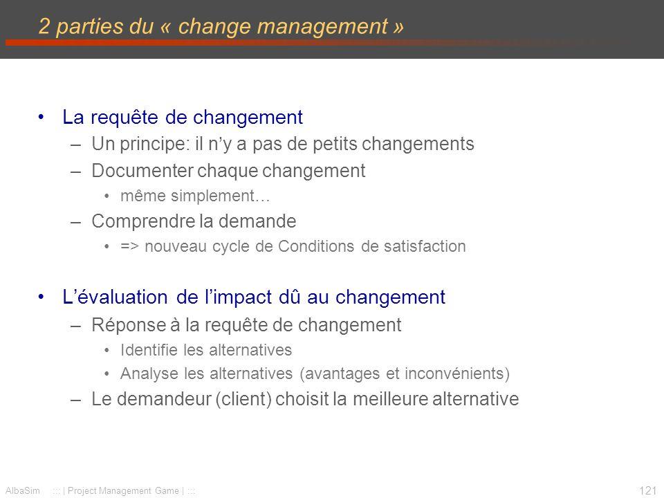 122 AlbaSim ::: | Project Management Game | ::: Procédure de changement Requête de changement Etude dimpact Analyse et choix Changement approuvé Changement refusé