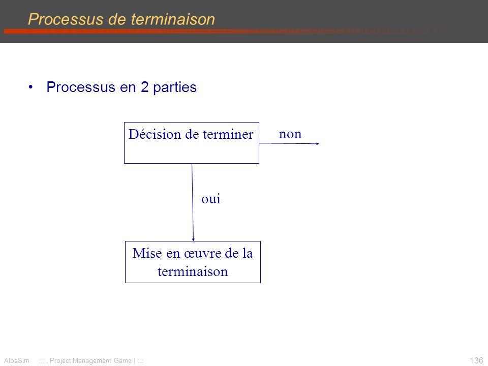 137 AlbaSim ::: | Project Management Game | ::: Quand terminer un projet.