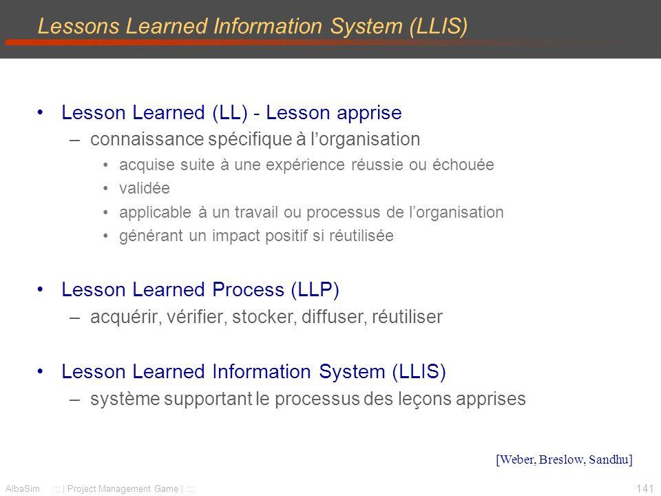 142 AlbaSim ::: | Project Management Game | ::: Exemple LLIS : Nasa Informations lesson –Numéro, date, soumis par Sujet Résumé Description de lévénement source Lesson apprise Recommandations […] Approuvé par http://llis.nasa.gov