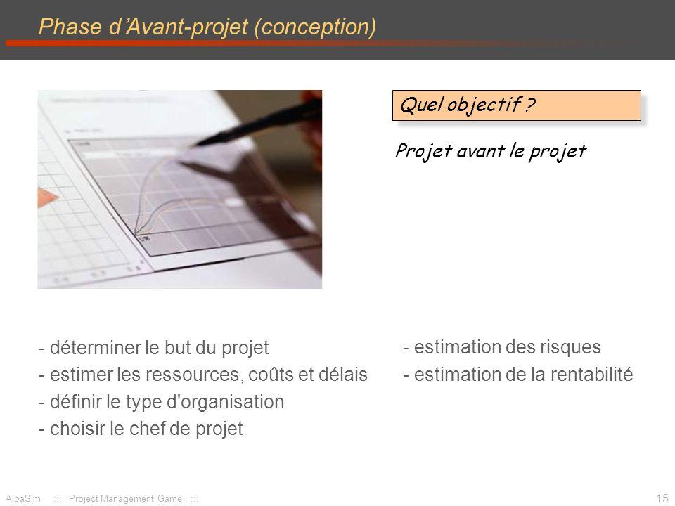 16 AlbaSim ::: | Project Management Game | ::: Phase de Planification –planification globale –détail des coûts et délais –engagement des hommes-clés –définition des responsabilités Planifier la réalisation...