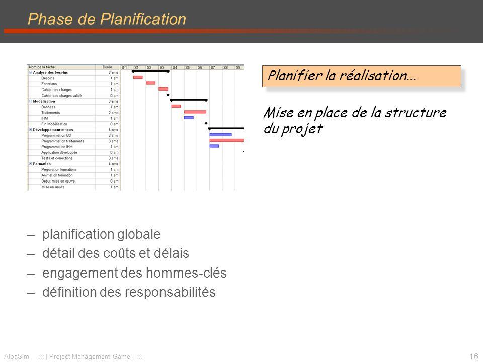 17 AlbaSim ::: | Project Management Game | ::: Phase de Réalisation –mise en place de l organisation – exécution du travail – pilotage coûts-délais-spécifications – résolution de problèmes Réaliser la planification...