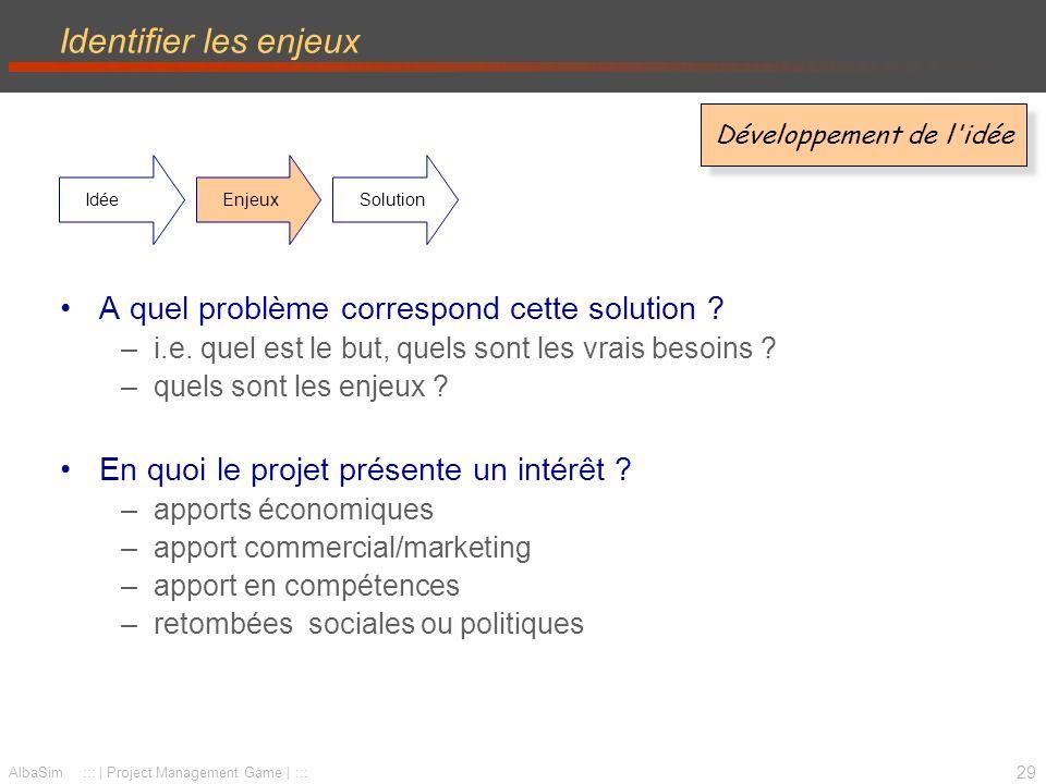 30 AlbaSim ::: | Project Management Game | ::: Définir les solutions (re)Définir les solutions par rapport aux enjeux –Expliciter le lien enjeux-solutions –Définir le résultat attendu –Expliquer en quoi les solutions sont les plus adaptées pour répondre aux enjeux Développement de l idée IdéeEnjeuxSolution