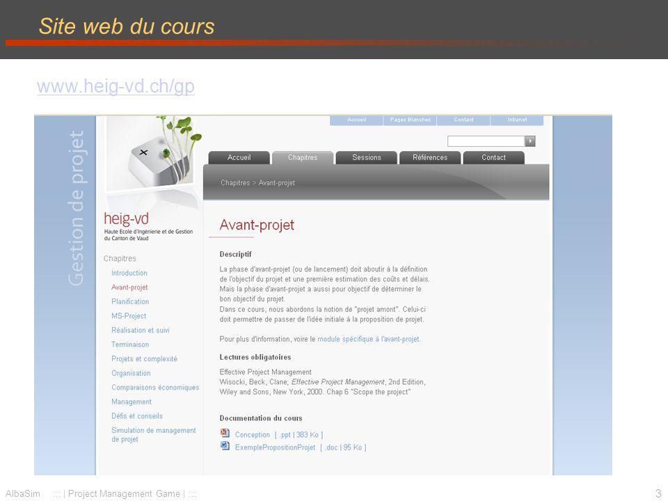 4 AlbaSim ::: | Project Management Game | ::: Site web de la simulation www.AlbaSim.com