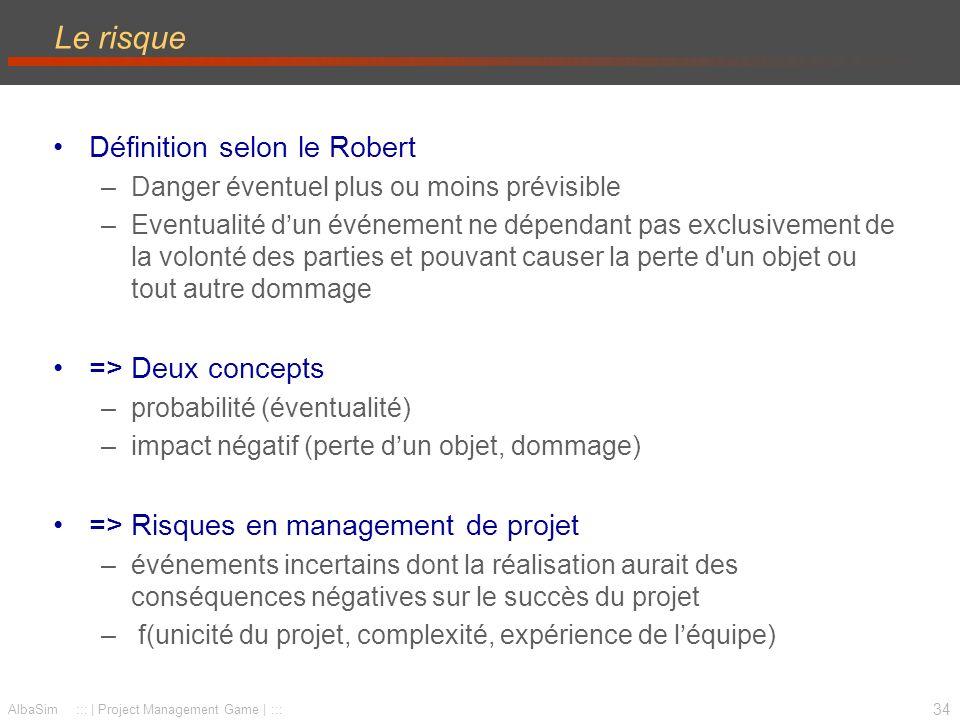 35 AlbaSim ::: | Project Management Game | ::: Processus de gestion des risques 1.