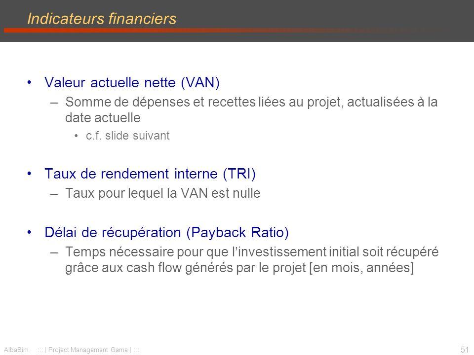 52 AlbaSim ::: | Project Management Game | ::: Indicateurs financiers Avec –R(j): recettes de lannée j (fin dannée) –C(j): coûts de lannée j (fin dannée) La VAN se calcul avec la formule suivante –c.f.