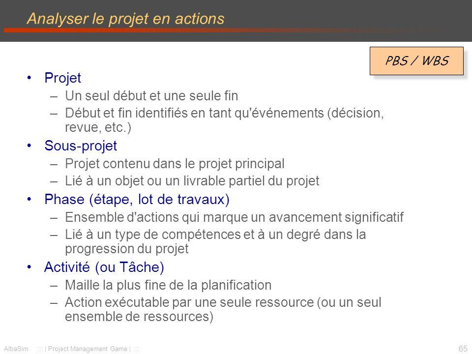 66 AlbaSim ::: | Project Management Game | ::: Résultats et utilisation Tableau des tâches – codifier le projet (suivi et archivage) Base de la suite de la planification –estimation des coûts –estimation des durées –ordonnancement des tâches –affectation des ressources PBS / WBS