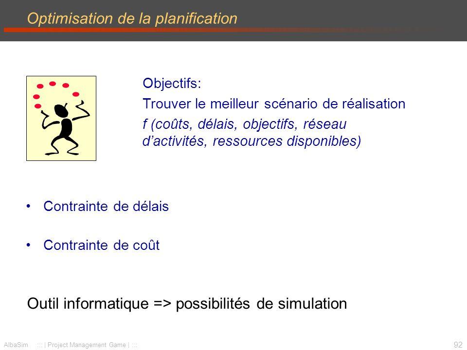 93 Simulation - Planification Objectif –faire valider la planification globale de votre projet Livrable –une présentation de la planification PBS, WBS, PERT, Gantt des tâches, Gantt des ressources, détail des coûts max.