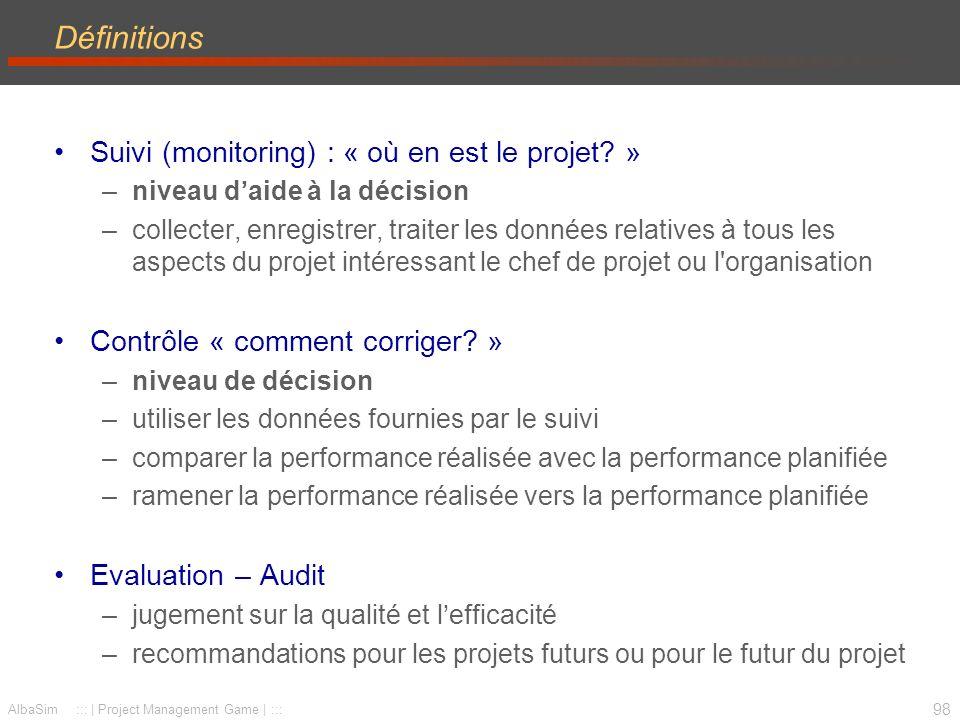 99 AlbaSim ::: | Project Management Game | ::: Planification Réalisation Réalisé feed-back - calendrier - budget - objectif (qualité - spéc.) Le contrôle Objectifs du contrôle –Rediriger le projet réel vers le projet planifié Moyens –Actions correctives sur la base des mesures du suivi