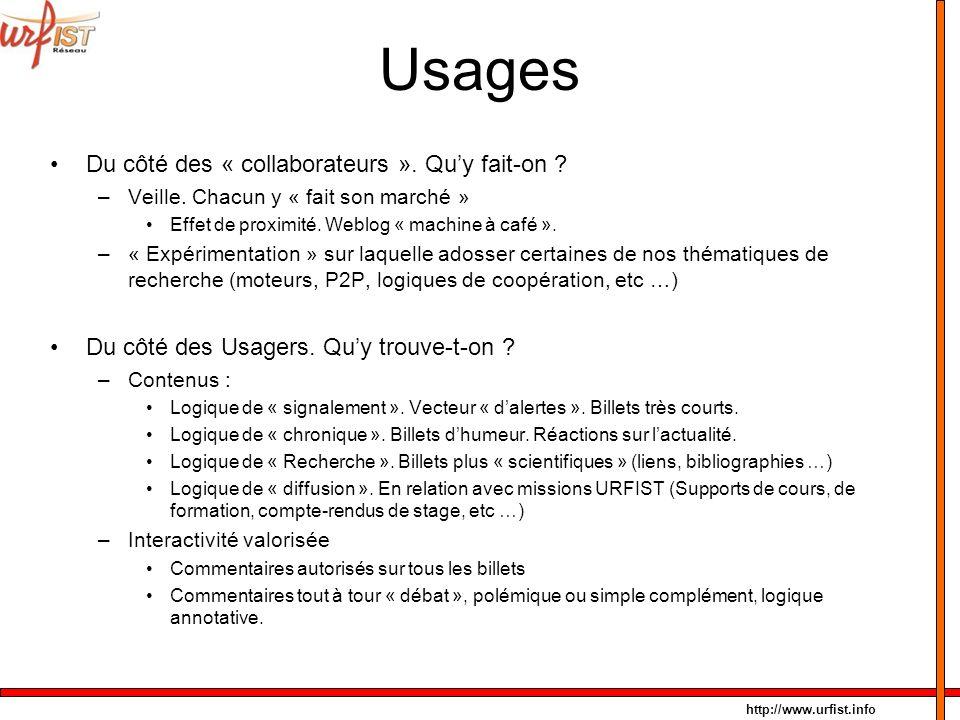 http://www.urfist.info Usages Du côté des « collaborateurs ». Quy fait-on ? –Veille. Chacun y « fait son marché » Effet de proximité. Weblog « machine