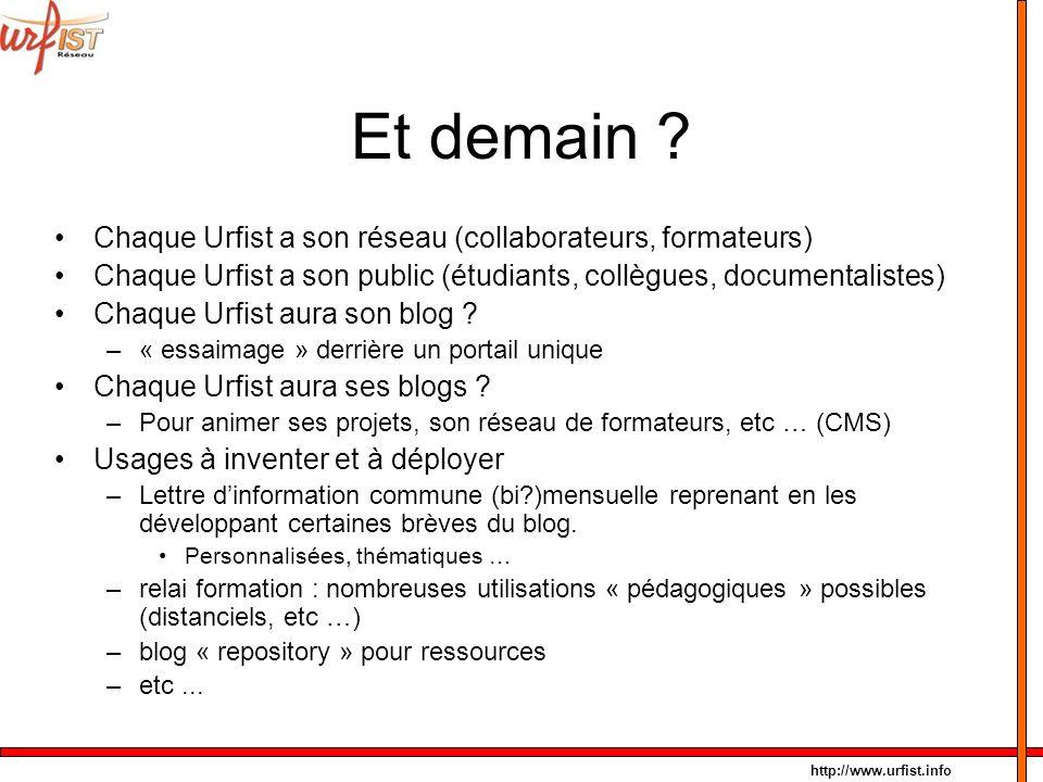 http://www.urfist.info Et demain ? Chaque Urfist a son réseau (collaborateurs, formateurs) Chaque Urfist a son public (étudiants, collègues, documenta