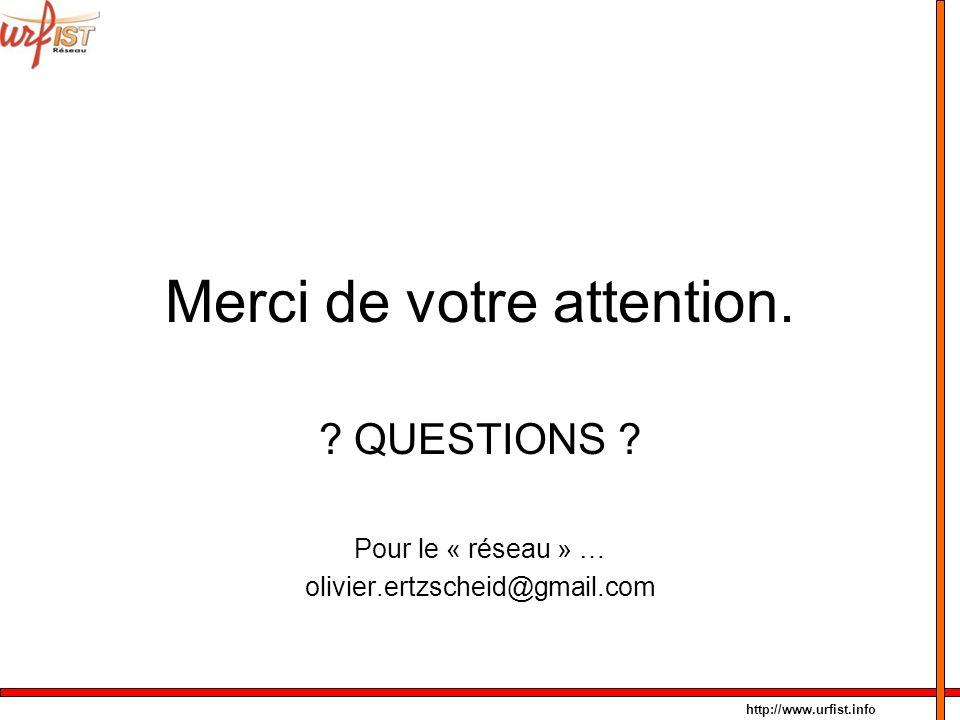 http://www.urfist.info Merci de votre attention. ? QUESTIONS ? Pour le « réseau » … olivier.ertzscheid@gmail.com