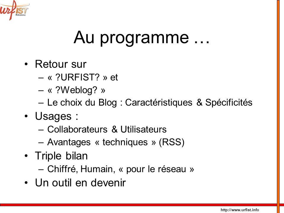 http://www.urfist.info Au programme … Retour sur –« ?URFIST? » et –« ?Weblog? » –Le choix du Blog : Caractéristiques & Spécificités Usages : –Collabor