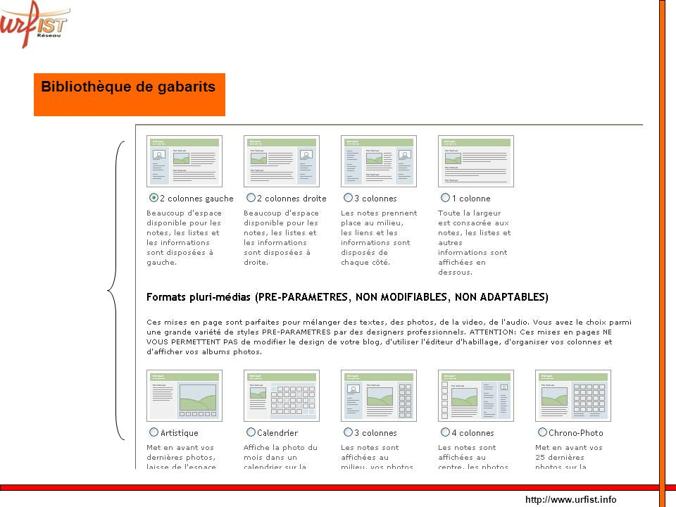 http://www.urfist.info Bibliothèque de gabarits