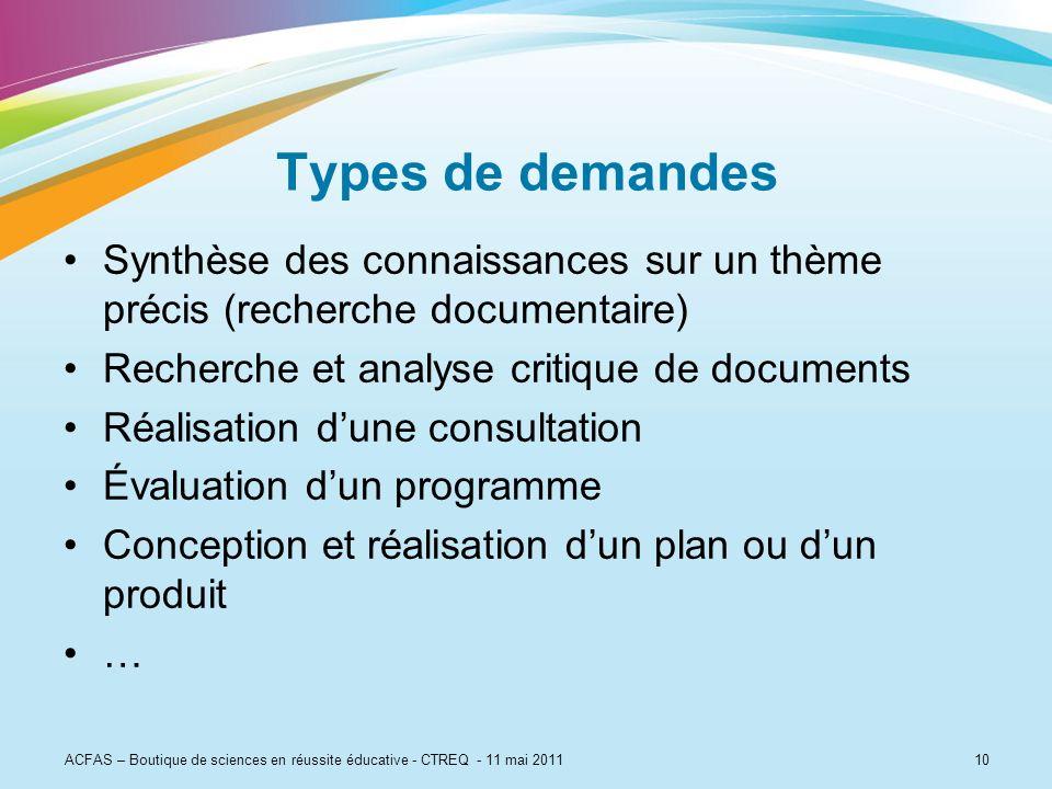 10 Types de demandes Synthèse des connaissances sur un thème précis (recherche documentaire) Recherche et analyse critique de documents Réalisation du