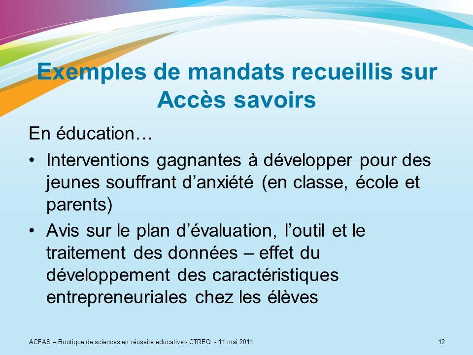 12 Exemples de mandats recueillis sur Accès savoirs En éducation… Interventions gagnantes à développer pour des jeunes souffrant danxiété (en classe,