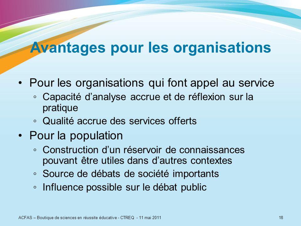 18 Avantages pour les organisations Pour les organisations qui font appel au service Capacité danalyse accrue et de réflexion sur la pratique Qualité