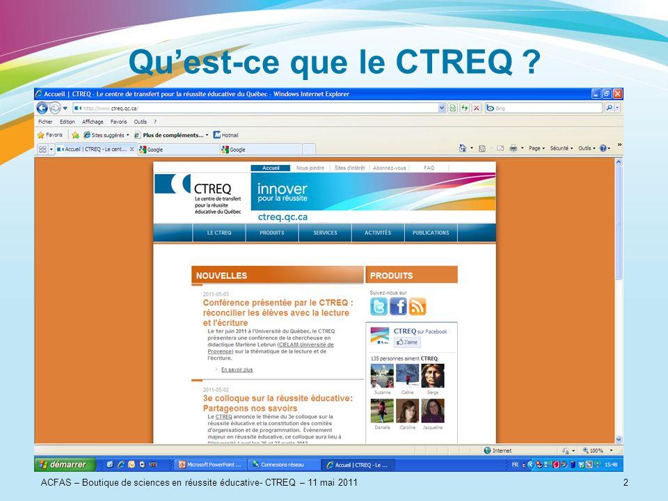 ACFAS – Boutique de sciences en réussite éducative- CTREQ – 11 mai 20112 Quest-ce que le CTREQ ?